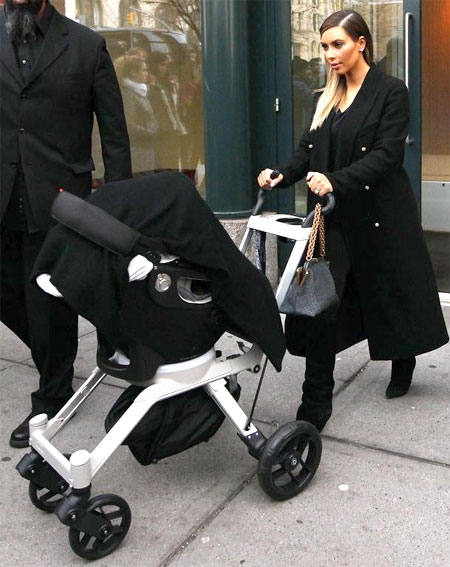 Kim Kardashian Pushes Her Baby In Orbit Baby Stroller